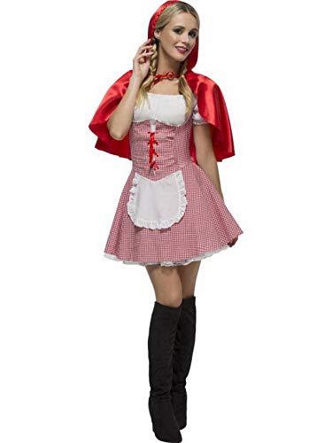 Confettery - Damen Frauen Rotkäppchen Kostüm mit kurzem Kleid und Umhang mit Kapuze, perfekt für Karneval, Fasching und Fastnacht, M, Rot