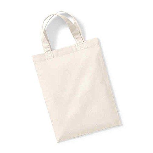 Baumwolle Party Tasche für Life Westford Mill Griff Länge 25cm 100% Baumwolle, 100 % Baumwolle, natur, Einheitsgröße