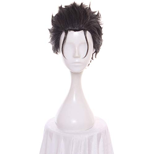 AMWIGS Junge Cosplay Anime Perücken Männer Kurz Direkt Schwarz Haar Perücken Halloween Kostüm Schick Kleid Kurz Synthetik Cosplay Perücke 12 Zoll