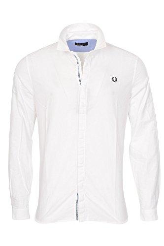 Fred perry camicia uomo bianco cotone largo con bottoni formale e business polsino doppio con 1 bottone m