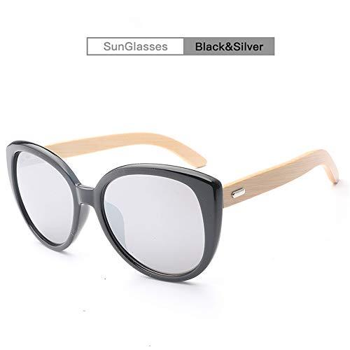 Liyuzhu Frauen Holz Handmake Klassische Wilde Sonnenbrille Sonnenbrille Holz Sonnenbrille Holz Beine Brille (Color : Silver)
