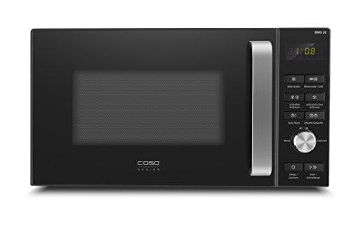 Caso BMG20 Design Mikrowelle mit Grill, Mikrowelle 800 Watt, Grill 1000 Watt, 6 Mikrowellenstufen, 9 Automatikprogramme (inkl. Auftauprogramm), 95min. Timer, schwarz, mit Extra großen Tasten