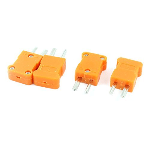 DealMux K Typ 2 Flachstecker Temperatursensor Thermoelement-Stecker orange, 4 Stück -