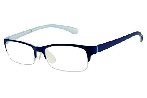 Lesebrillen Halbrahmen Meerblau eckig breite Bügel unten rahmenlos randlos Damen Herren leicht modern schmal flach Kunststoff langer Bügel mit Brillenetui, Dioptrien:Dioptrien 2.0