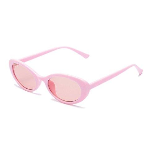 Moolo Sonnenbrille Sonnenbrille Frauen European American Fashion Persönlichkeit Anti-UV400 Dekoration Oval Gläser Für Mehrere Gesicht Formen Shell Weiß Schwarz Rosa Rot (Farbe : Pink)