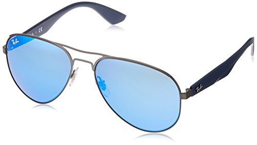 Ray Ban Herren Sonnenbrille RB3523 Matte Gunmetal/Lightgreenmirrorblue, One size (59)