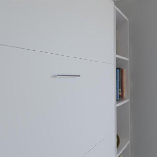 SMARTBett Basic 140×200 Vertikal Weiss Schrankbett | ausklappbares Wandbett, ideal geeignet als Wandklappbett fürs Gästezimmer, Büro, Wohnzimmer, Schlafzimmer - 6