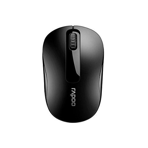 Rapoo M10 kabellose Maus (2,4 GHz Wireless, optisch, 1000 DPI, 3 Tasten inkl. 2D Mausrad, Links-/Rechtshänder, Nano-USB für PC, Laptop, iMac, Macbook, Microsoft) schwarz