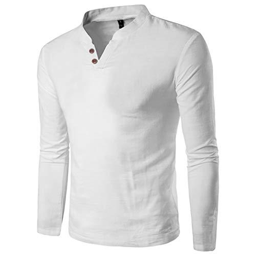 UJUNAOR Herren Frühling Langarm Einfarbiges Knopfhemd mit Henry Kragen(Weiß,CN M)