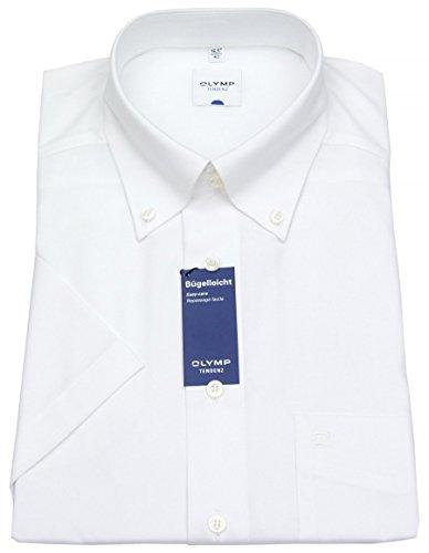 OLYMP Regular Fit Hemd Halbarm Uni Popeline weiß 0501/12/00