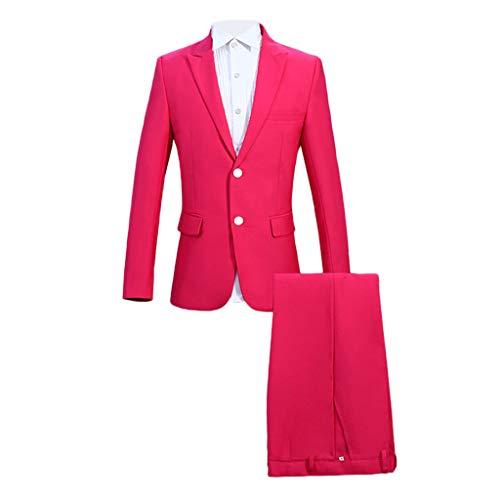 Navy Zwei-knopf-blazer-jacke (Herrenanzug Slim Fit 2Teilig Business EIN Knopf Smoking Herren Anzug Festlich Hochzeit Party Anzüge 2-Teilig Sakko Jacke Hose Weste Set)
