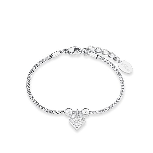 s.Oliver Damen-Armband Herz Edelstahl Zirkonia weiß 20 cm - 567220