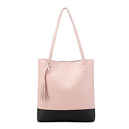 Handtaschen Damen Sunday Umhängetaschen Hobo PU Leder Geldbörse Top-Griff Taschen Tote Große Schultertaschen Handtaschen 30.5cm(L)*6cm(W)*33cm(H) (33cm, Rosa) (Canvas Tote Griff)
