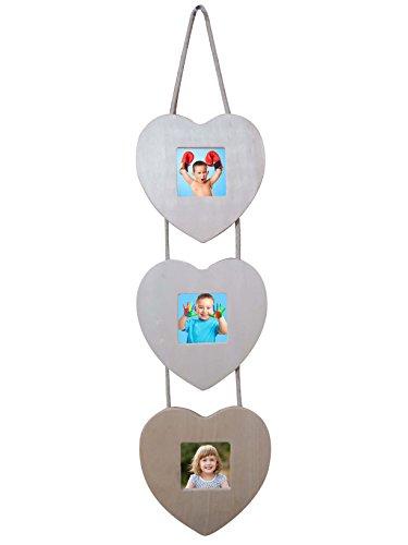 Cornice tris portafoto in legno a forma di cuore shabby chic per decoupage