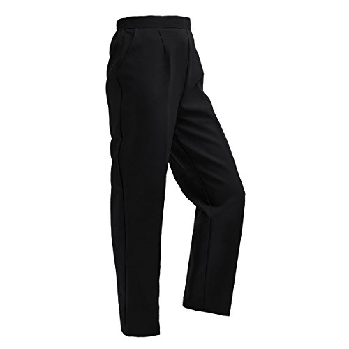 LADIES WOMENS HALF ELASTICATED STRETCH WAIST WORK OFFICE TROUSERS POCKETS PANTS