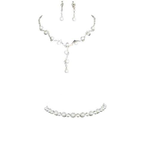 Set Tiara (Halskette Ohrringe Stirnband Tiara Schmuck Set Brauthochzeits Hochzeit Kristallrhinestone Künstlich)