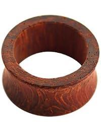eeddoo® Holz - Flesh Tunnel - Rotbraun - Padouk Wood ~~~ von 3 bis 24 mm DURCHMESSER ~~~ (Flesh Tunnel Ohr Lobe Tube Plug Piercing Ohrtunnel gedehnte Ohren 6mm 8mm 10mm 12mm Damen Männer Frauen)
