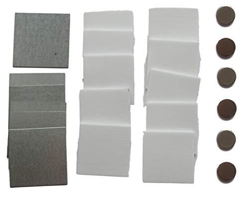 Selbstklebendes HALTERUNGSSYSTEM mit Magneten - 6x Stahlplättchen 45mm + 6x Klebe-Magnete + 10x Sticky Pads - für Fernbedienungen, Klein-Gegenstände usw.