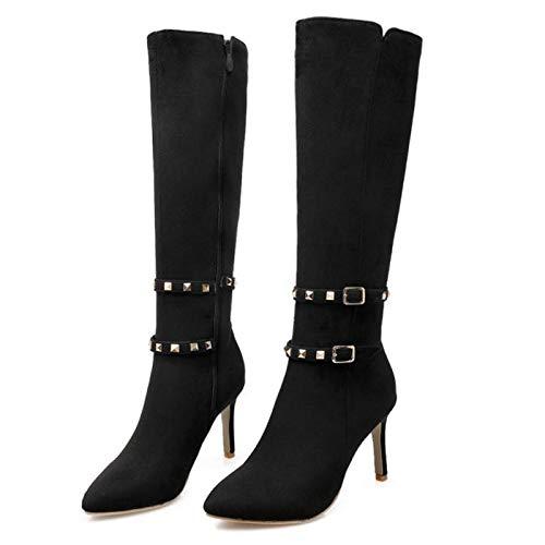 HAOLIEQUAN Frauen Spitzschuh Thin High Heel Knie Stiefel Frau Mode Schnalle Wrap Nieten Stöckelschuhe Schuhe Größe 31-43, Schwarz, 4