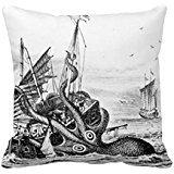 Kraken Octopus Eatting una nave pirata nero bianco gettare RF40DD3553AA24003BA87E108690F2C25I52NI 8BYVR federa 45,7x 45,7cm