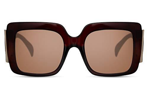 Cheapass Sunglasses Frauen Style mit großen braunen Gläsern, extragroßen braunen Bügeln und einem breiten braun-transparentem Rahmen