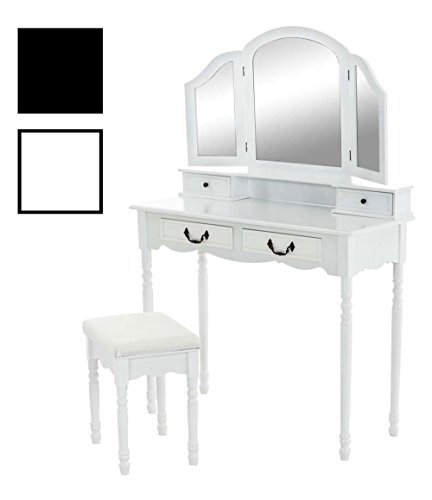 CLP Schminktisch-Set VIOLETTA, 3 Spiegel + Hocker + Frisierkommode 100 x 40 cm, Höhe 145 cm, Landhaus-Stil Weiß