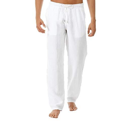 VPASS Pantalones Hombre Verano Casuales Moda Deportivos Algodón y Lin