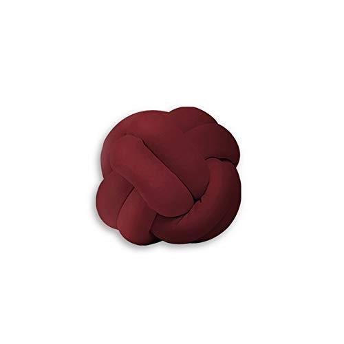 Homemania Cuscino Decorativo Knot Intrecciato Colore Bordeaux Realizzato a Mano, Morbido, Decorativo, Multifunzionale.