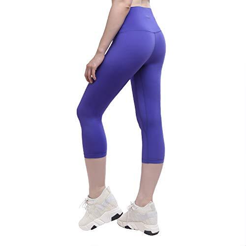 Yunoga Damen Yoga Capris Hosen-Workout Leggings mit Hoher Taille & Taschen, Damen, Calf Length - Blue, XL-Waist(33