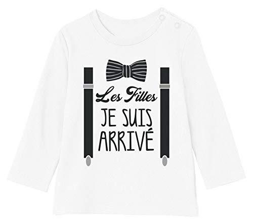 Les Filles Je suis arrivé Noeud Pape et Bretelles Fancy T-Shirt Bébé Unisex Manches Longues 18-24M 89/93cm Blanc