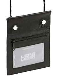 Pochette de sécurité LEAS en cuir véritable, noir - ''LEAS Travel-Line''
