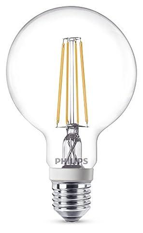 Philips LED Classic E27 Edison Screw G93 Dimmable Clear Filament Globe Light Bulb, 7 W (60 W) - Warm White