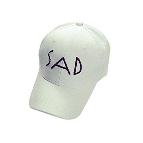 UFACE SAD Baseballmütze Stickerei-Baumwollbaseballmütze-Hysteresen-Kappen Hip Hop-Hüte (Weiß)