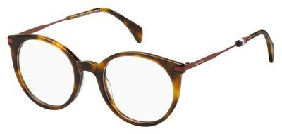 Tommy Hilfiger Plastic Rectangular Eyeglasses 50 0SX7 Light Havana image