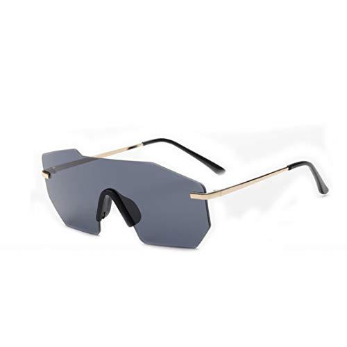 Persönlichkeit Frameless Unisex Sonnenbrillen Einteiliger Stil Objektiv UV-Schutz für den Urlaub Fahren. Brille (Farbe : Schwarz)