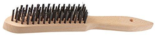 FMprofessional Drahtbürste, hochwertige Bürste mit Holzgriff zur Reinigung des Grillrosts, Grillbürste mit Drahtborsten (Farbe: Braun) Menge: 1 Stück
