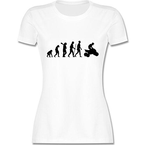 Evolution - Quad Evolution - tailliertes Premium T-Shirt mit Rundhalsausschnitt für Damen Weiß