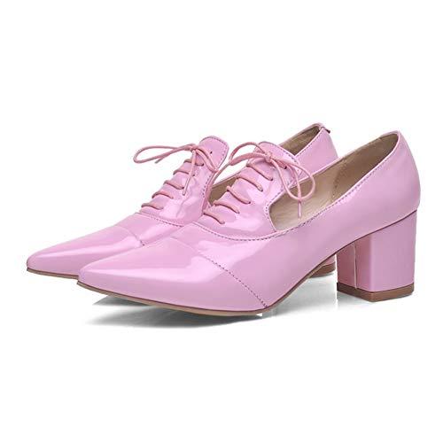 Rex rabbit-SS Damen Pumps Heels Damen Closed Pointed Toe Sandalen Schuhe Casual Größe Lederschuhe,Pink,45 Pink Toe Pumps