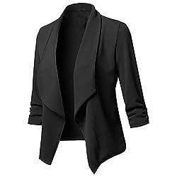 Damen Sakko Cardigan Elegant Blazer Leicht DüNn LäNgere Leichte Jacke Fließt Wunderbar Und Ist SchöN Leicht Locker Fallendes zu Jeans T-Shirt Aber Auch zur Edlen Anzughose Pumps (2XL, Schwarz)