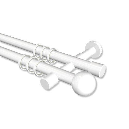 Interdeco Gardinenstange Weiß zweiläufig aus Metall 20 mm Ø Prestige Luino, 200 cm