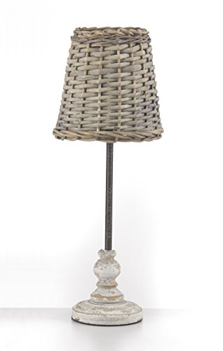 Onli 4887/LG Tischleuchte Korb mit Lampenschirm E27, weiß, 20x H 50cm