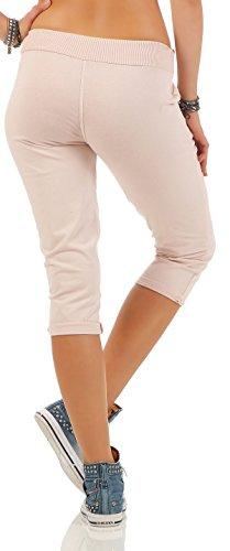 malito corto Pantaloni monocolore Pantaloni della tuta Baggy 83701 Donna Taglia Unica Rosa