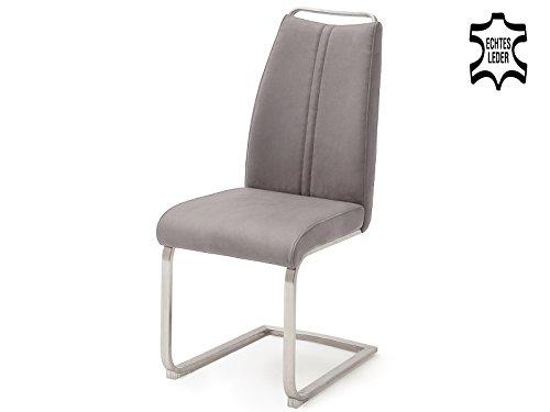 möbelando Schwingstuhl Esszimmerstuhl Küchenstuhl Stuhl Echtleder Giulia III (2-er Set) Eisgrau