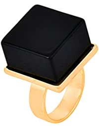 OOMPH Metal Gold and Black Large Cube Stone Ring for Women
