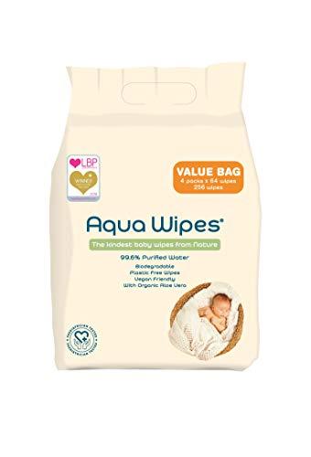 Aqua wipes salviette per neonati, (sacchetto di 4 x 64 salviette (256 salviette)), aqw64f4b, vegano, biodegradabile, senza plastica e parabeni, acqua purificata al 99,6%, uk nhs approvato