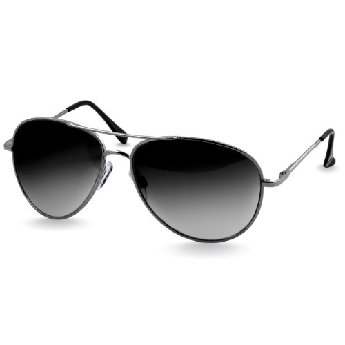 CASPAR SG013 Aviator Pilotenbrille / Sonnenbrille / Fliegerbrille , Farbe:silber / schwarz getönt (Schwarze Sonnenbrille Aviator)