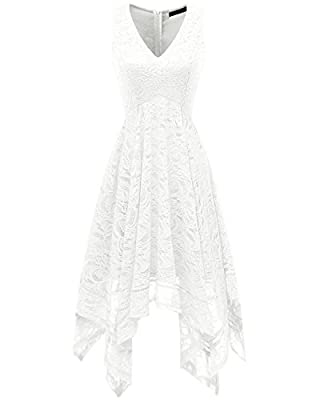 Bridesmay Women's V-Neck Sleeveless Asymmetrical Handkerchief Hanky Hem Lace Cocktail Dress