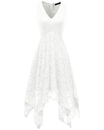 Bridesmay Women's V-Neck Sleeveless Asymmetrical Handkerchief Hem Lace Cocktail Dress