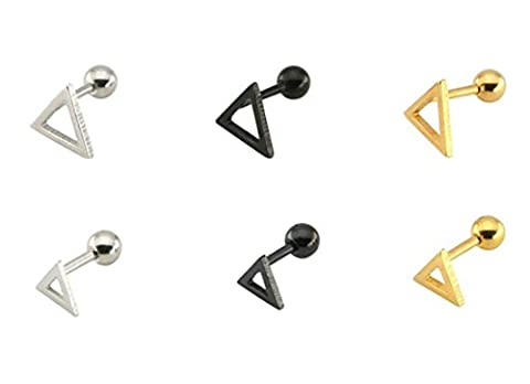 Aooaz 3 Paires Acier Inoxydable Boucles d'Oreilles Pour Homme Femme Triangle Boucles d'Oreilles 8mm Argenté Noir or