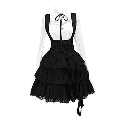Damen Vintage Hemdkleid Mittelalter Renaissance Midikleid Lange Ärmel Hohe Taille Swing-Kleid Revers Prinzessin Kleid mit Button Für Karneval Halloween Party
